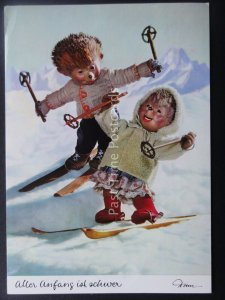Mecki Hedgehog CHILDREN SKI SKIING THEME c1970/80's Postcard by Diehl Film 329