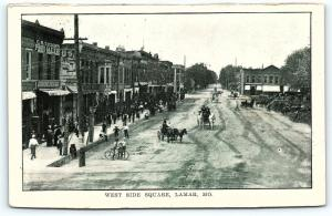 Postcard MO Lamar West Side Square Pre 1920s Street View Horse Buggy Bicycle R29