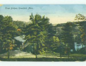 Divided-Back BRIDGE SCENE Greenfield Massachusetts MA HJ1559