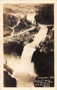LPS48 Snoqualmie Washington Falls Aerial View Postcard RPPC