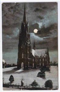 First Church in Winter Night Moonlight Dunedin Otago New Zealand 1910c postcard