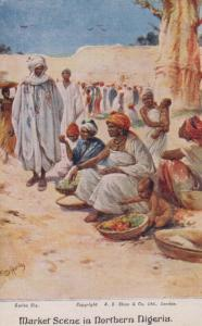 Market Square In Northern Nigeria Antique Artist Art Painting Nigerian Postcard