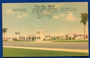 Don Wes Motel Donna Texas Highway 83 linen postcard #2