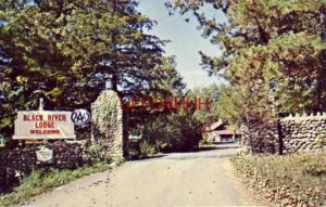 ENTRANCE TO BLACK RIVER LODGE, LESTERVILLE, MO. in the famous Ozarks 1968