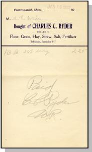 1932 Charles C. Ryder Billhead, Cummaquid, Mass/MA