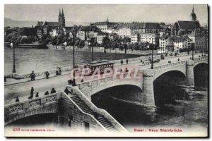 Old Postcard Basel Neue Rheinbrucke