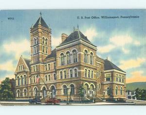 Unused Linen POST OFFICE SCENE Williamsport Pennsylvania PA hs1210