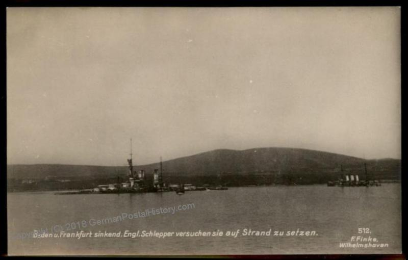 Germany WWI Kriegsmarine Ship SMS Baden Frankfurt Sink English Steamer RPP 60245