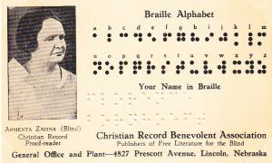 Braille Card Christian Record Benevolent Assoc,