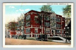 Greenville PA, Penn High School, Automobiles, Vintage Pennsylvania Postcard