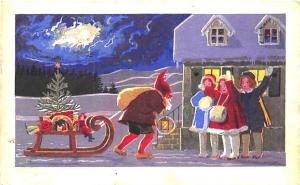 Christmas Santa Claus Pulling Sleigh Toys Young Girls Unusual Postcard