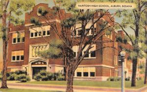 Auburn IN~Bushy -Tipped Tree In Front of McIntosh High School~1947 Linen PC