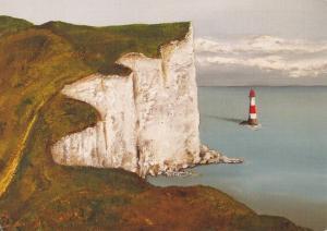 Postcard Art Beachy Head and Lighthouse, Eastbourne by Louise Jones #980