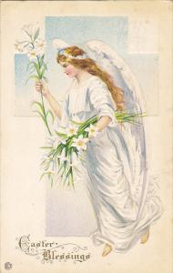 Easter Greetings Angel With Easter Lilies 1917