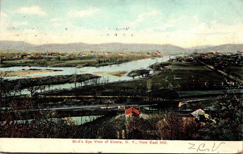 New York Elmira Birds Eye View From East Hill 1907