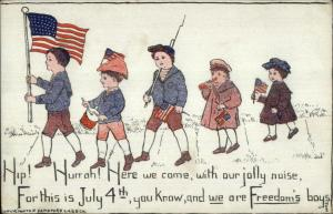 4th Fourth of July Boys Parade American Flags Sandford Card Co c1910 Postcard