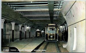 1911 Boston, Mass. Postcard Subway Trolley Tunnel Station, Court Street