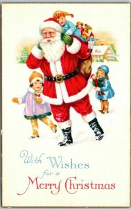 SANTA CLAUS Postcard Best Wishes for a MERRY CHRISTMAS Stecher 1731 Unused