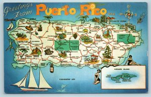 Postcard Puerto Rico Map of Island Greetings Town Names Roads c1950s X3