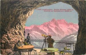 Switzerland Jungfraubahn Station Eismeer telescope Ausblick auf Schreckhorn 1912