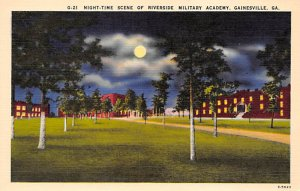 Military Post Card Night-time Scene of Riverside Military Academy Gainesville...