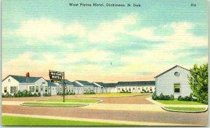 Dickinson, North Dakota Postcard WEST PLAINS MOTEL Hwy 10 Roadside Linen c1950s