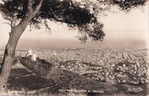Barcelona Tibidabo Vertigo View Vintage Aerial Spanish Real Photo Postcard