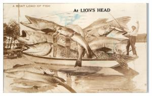 RPPC Exaggerated Walleyes & Northern Pike Fishing Boat Lion's Head, ON Postcard