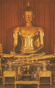 BANGKOK, Thailand, 1940-60s; Big golden Buddha, Wat Trai-Mit