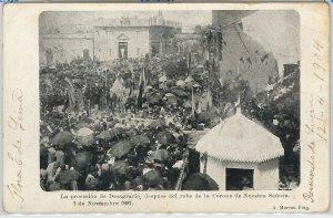 VINTAGE POSTCARD postal antigua - ARGENTINA - BUENOS AIRES: PROCESION 07.11.1897