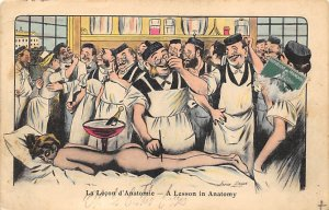 Naked Woman, Lesson in Anatomy Cartoon Occupation, Doctor Writing on Back