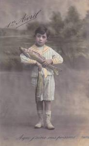 1er Avril April Fool's Day Young Boy Holding Fish 1914