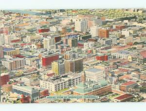 Unused Linen AERIAL VIEW OF TOWN Nashville Tennessee TN n3698