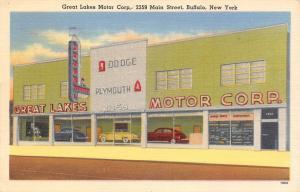 Buffalo NY Closeup: Great Lakes Motor Dodge & Plymouth Auto Dealer~Linen! 1940s