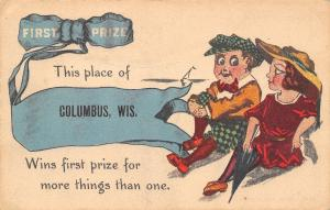 This Place of Columbus Wisconsin~Wins First Prize~Blue Ribbon Pennant~1914 PC