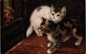 CPA AK CATS Kittens and a hen (a2076)