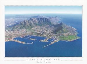 South Africa Table Bay Harbour & Table Mountain Aerial View
