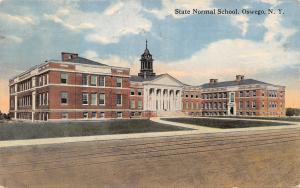 Oswego New York~State Normal School~Front Pillar View~1915 Postcard