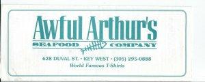 MC-156 - Awful Arthur's Seafood Company, Key West Florida, Vintage Menu Undated