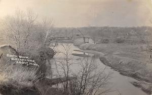 Amboy Minnesota~North Bridge~Pratt Thru Truss~Blue Earth River~Car~c1912 RPPC