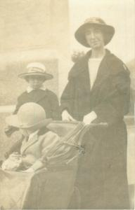 Woman, Girl, Baby in Carriage at the Fair Early 1900s Real Photo Postcard Orion