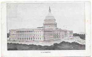 Card U.S. Capitol. Washington D.C. to Wooster, Ohio Sept. 1907.  Franklin #300