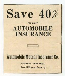 Save 40% Automobile Mutual Insurance Co. Lincoln Nebraska Vintage Advertisement
