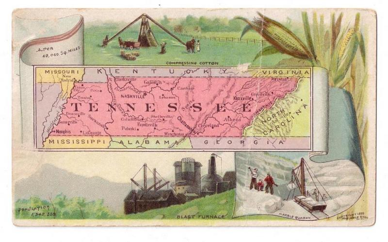 Arbuckle Coffee Trade Card 1889 Tennessee State Map #73
