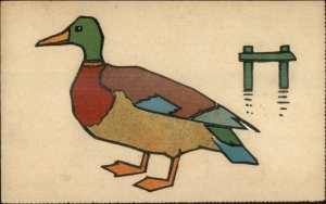 Handmade? Unusual Mosaic Type Art of Duck - Pasted on Pieces? Postcard c1910