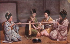 TUCK Geisha Women Kimonos Playing Game c1910 Postcard