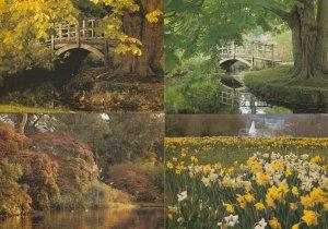 Exbury Gardens River Bridge Hampshire Boat 4x Postcard s