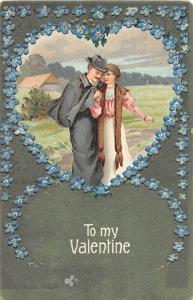 E12/ Valentine's Day Love Holiday Postcard c1911 Warren Ohio Man WOman Heart 13