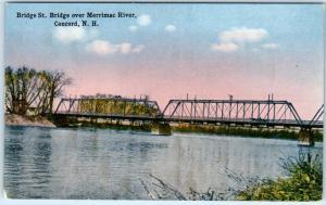 CONCORD, New Hampshire  NH   Merrimac River BRIDGE STREET BRIDGE c1910s Postcard