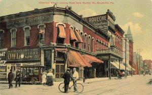 Meadville MI Chestnut Street Owl Cigar Sign Popcorn Wagon 1910 Postcard